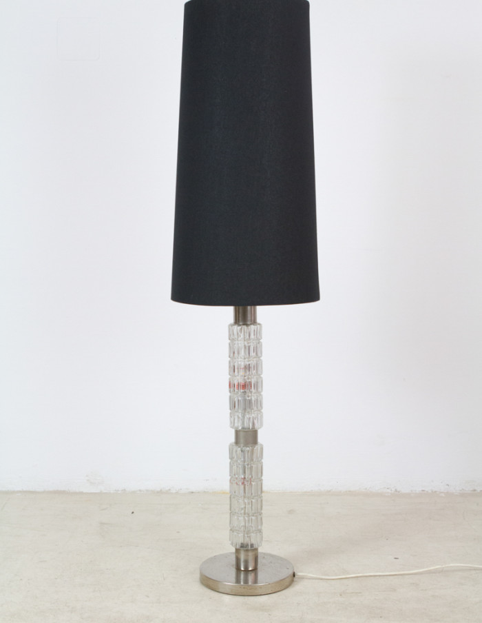 Glass Floor Lamp from the 50s with Black Shade-1