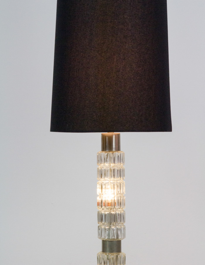 Glass Floor Lamp from the 50s with Black Shade-9