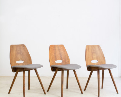 Walnut Dining Chairs by František Jirák for Tatra, 1960s (6 pcs available)