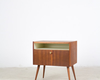 Mahogony Bed Side Table Completely Restored, 1960s