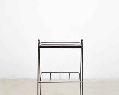 Small Mid-Century Iron Side Table with Oak Top, 1960s