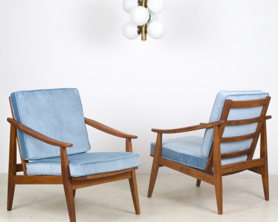 Restored Walnut Armchair with Pale Blue Velvet Upholstery from the 50s