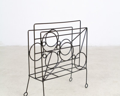 Vintage, Iron Magazine Rack with Globe Pattern