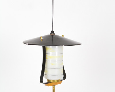 Pagoda Pendant with Striped Glass Shade and Copper Details