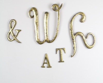 Antique copper letters from the 60s (W,H,&)