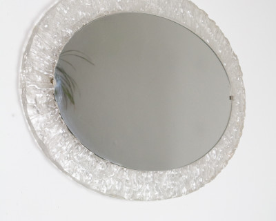 Large Oval Mirror with Plexiglass from the 60's