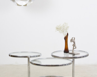 Milo Baughman style Modular Chrome Coffee Table
