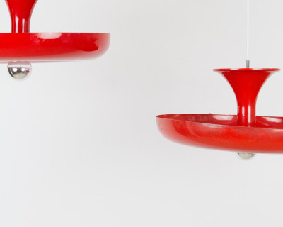 Red and Gorgeous Sombrero Lamp from the 70's (2 pieces)