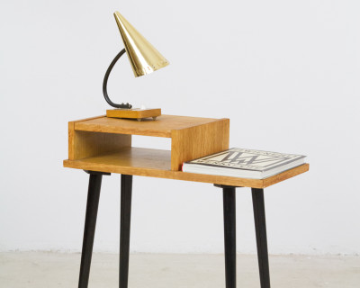 Small Bedside Table with Long Black Legs