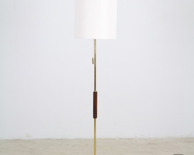 Rare Floor Lamp with Copper Inlay