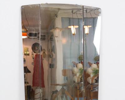 Large Folding Wall Mirror with Walnut Back