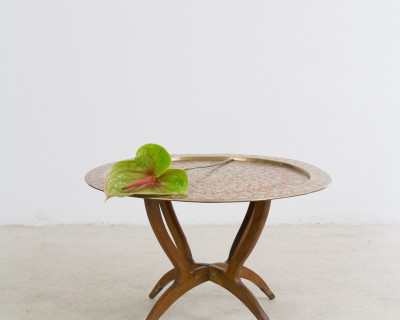 Vintage Copper Tray Table with Small Floral Motifs, 1960s