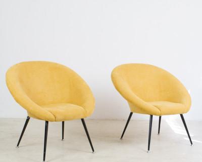 Restored Mustard Lounge Chair on Black Metallic Legs, 1960s