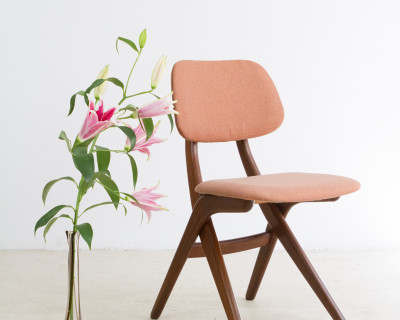 Wooden Chair with New Upholstery, 1950s