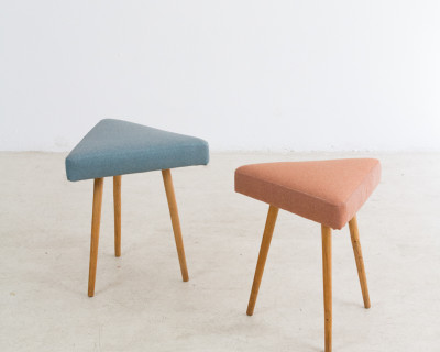 Restored Tripod Seat with Triangle Shaped Top (Blue and Coral)