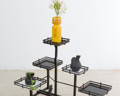 Giant Iron Plant Stand with Glass Trays, 1970s