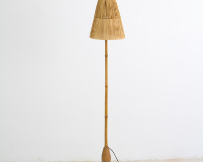 Safari Style Floor Lamp with Straw Shade