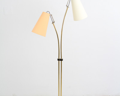 Vintage Floorlamp with Double Shade and Brass Details