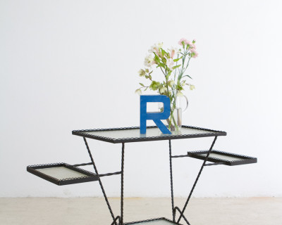 Large Plant Holder with Original Glass Insets