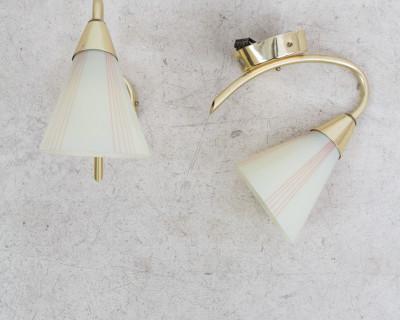 Pretty Copper Wall Lamp With Original White Glass Shade