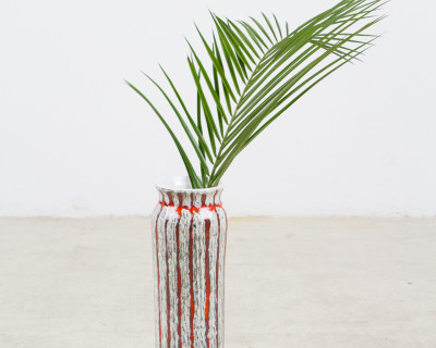 Tall and Slim Signed Vase with Red Stripes