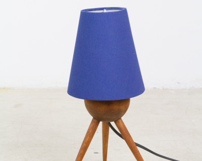 Walnut Tipod Table Lamp with Blue Shade, 1960s