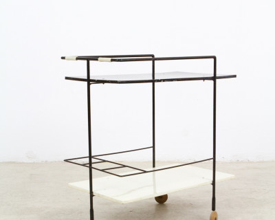 Mid-Century Black & White Rolling Trolley on Wood Wheels