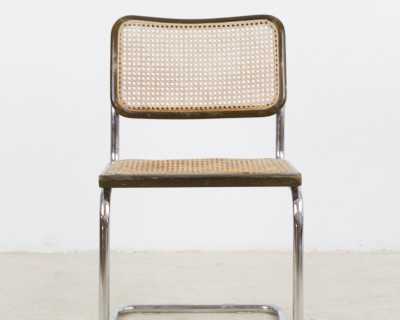 Mid-Century Vintage Italian Walnut & Chrome 'Cesca' Chair