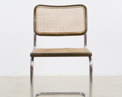 Mid-Century Vintage Italian Walnut & Chrome 'Cesca' Chair