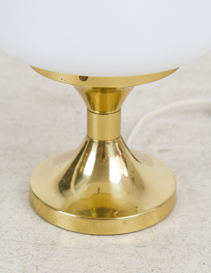 Pretty_Copper_Table_Lamp_with_Opaline_Glass Top, 1970s-3