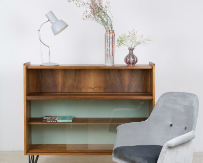 Restored Tatra Walnut Bookshelf on Hairpin Legs with Pistachio Details, 1960s