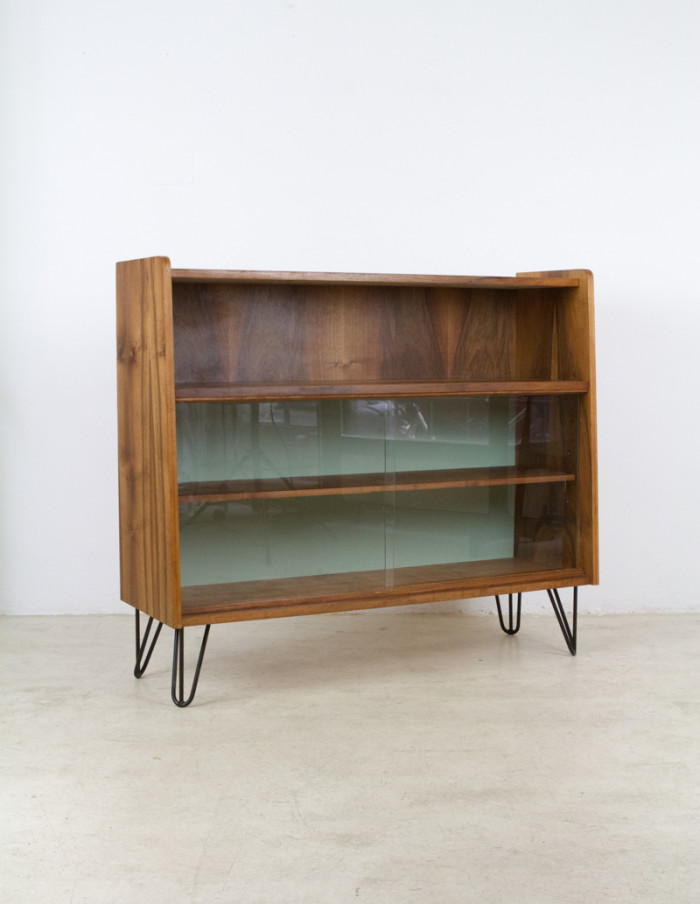 Restored_Tatra_Walnut_Bookshelf_on_Hairpin_Legs_with_Pistachio_Details_1960s -7