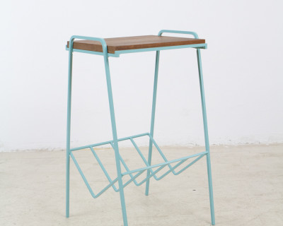 Turquoise Iron Side Table with Walnut Top, 1960s