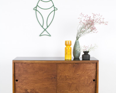 Walnut Tatra Sideboard on Hairpin Legs with Black Glass Top, 1960s