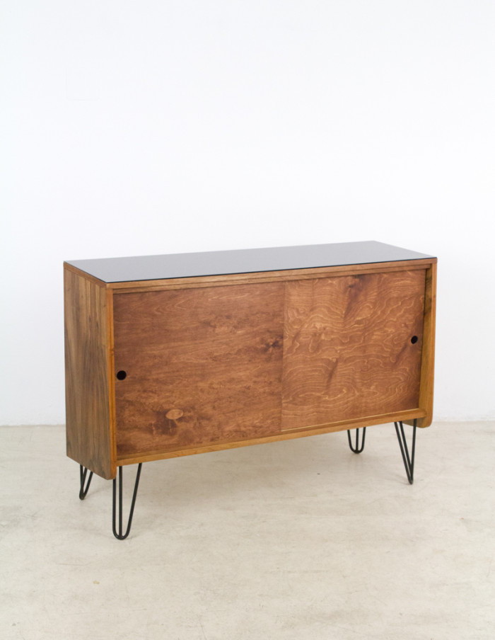 Walnut_Tatra_Sideboard_on_Hairpin_Legs_with_Black_Glass_Top_1960s-9