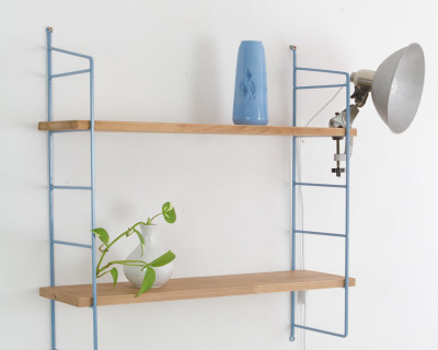 Blue and Oak Panni Shelf Perfectly Restored (2) 1960s