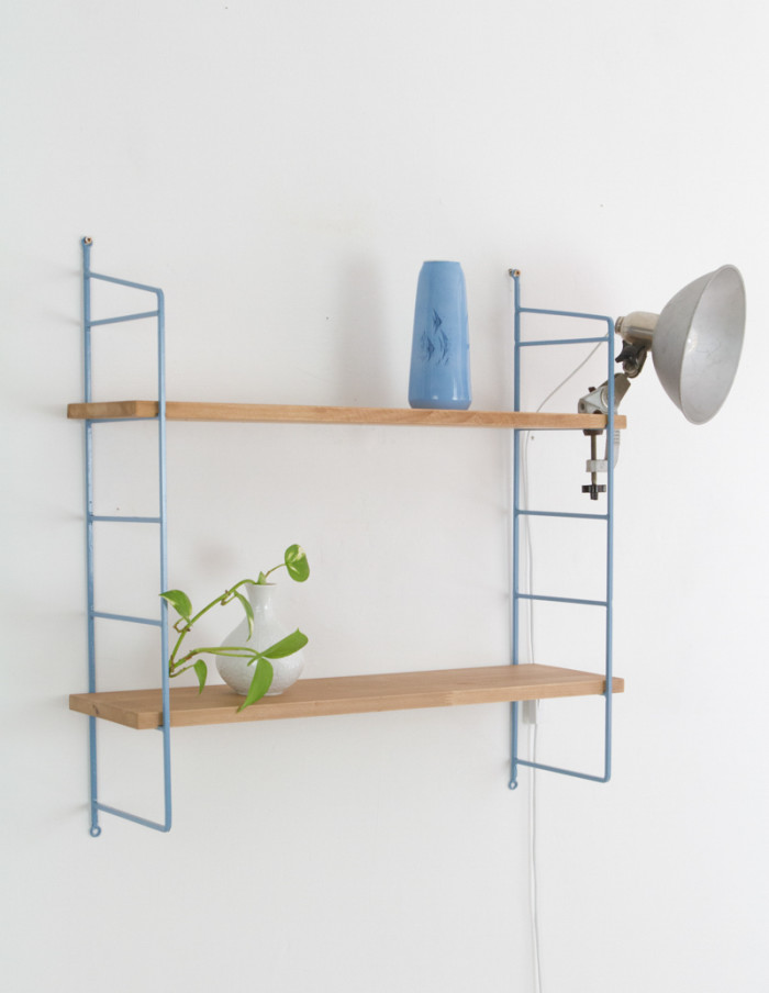 Blue and Oak Panni Shelf Perfectly Restored (2) 1960s -9
