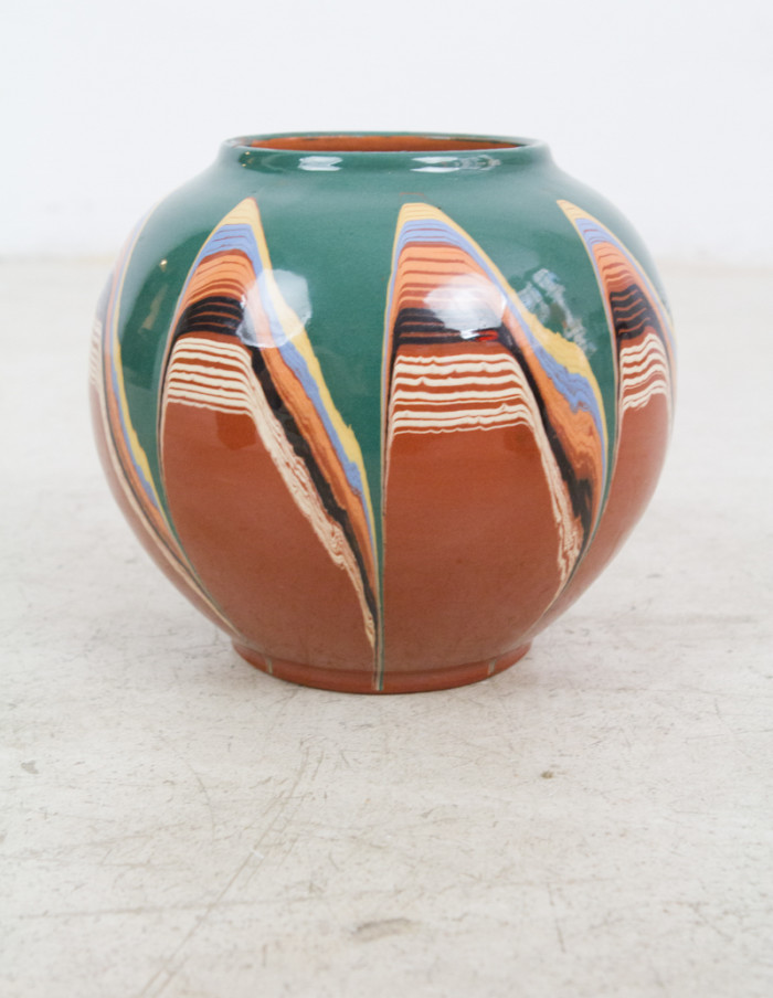 Colourful Artisan Globe Shaped Ceramic Vase-3