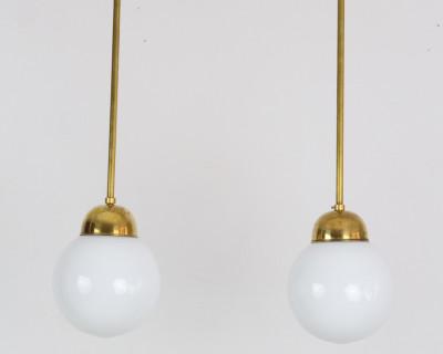 Pretty Art Deco Pendant with Milk Glass Shade and Copper Parts