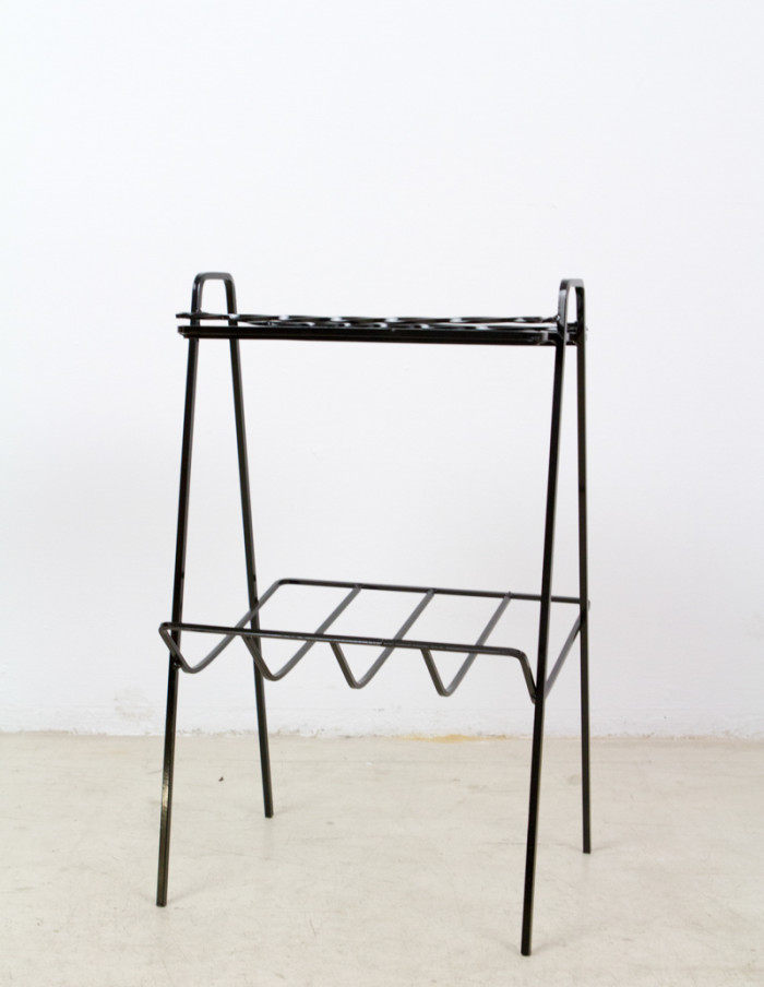 Iron Side Table with Black Glass Top, 1960s-1
