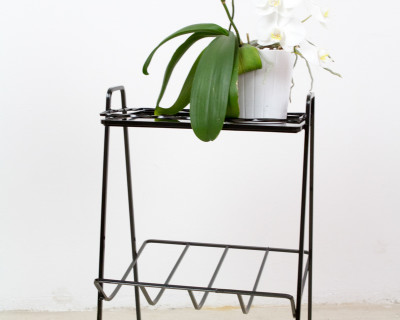 Iron Side Table with Black Glass Top, 1960s