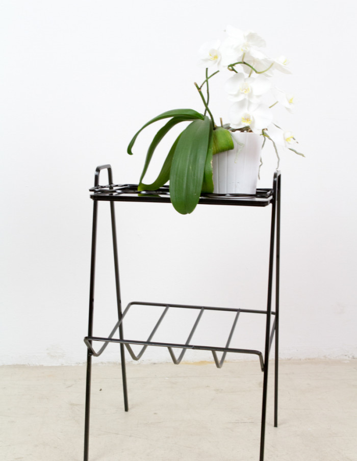 Iron Side Table with Black Glass Top, 1960s-8