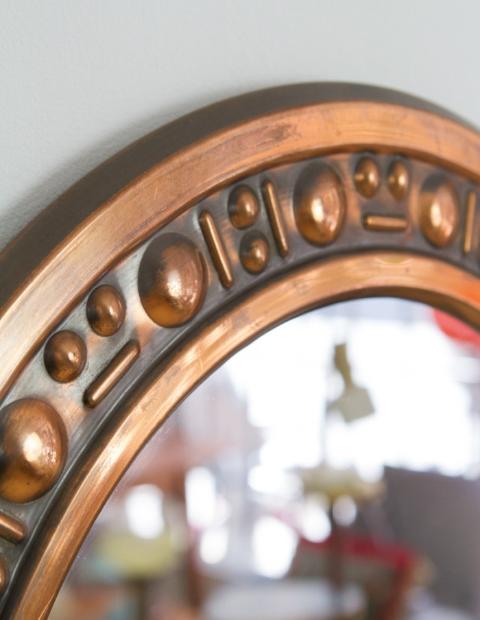 Mid-Century Artisan Copper Mirror-3