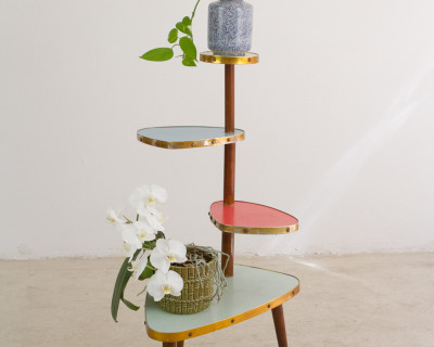 Mid-Century Colourful Plant Holder with Wooden Parts, 1960s