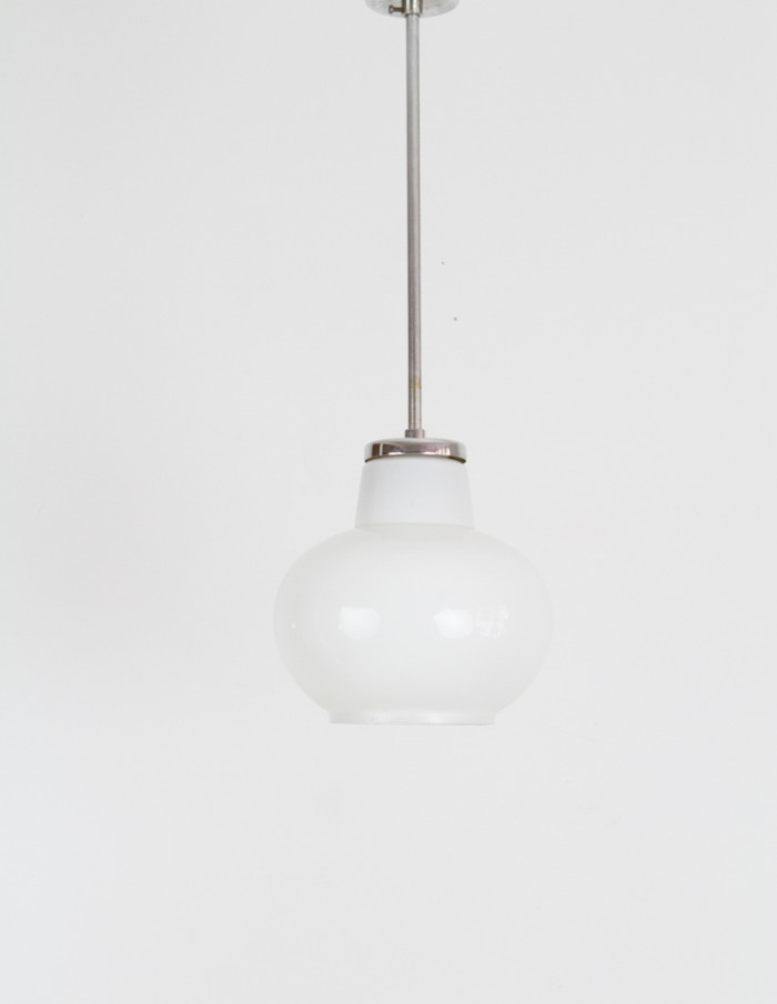 Mid-Century Milk Glass Pendant-1