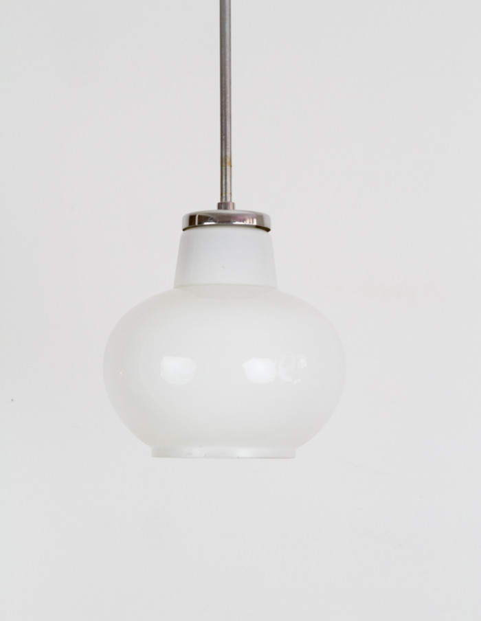 Mid-Century Milk Glass Pendant-2