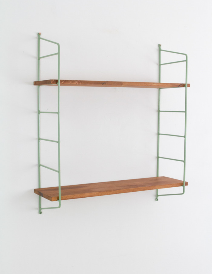 Olive Green and Walnut Panni Shelf Perfectly Restored (2) 1960s -1