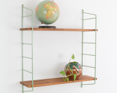 Olive Green and Walnut Panni Shelf Perfectly Restored (2) 1960s