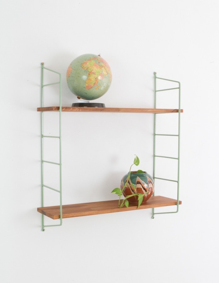 Olive Green and Walnut Panni Shelf Perfectly Restored (2) 1960s -6