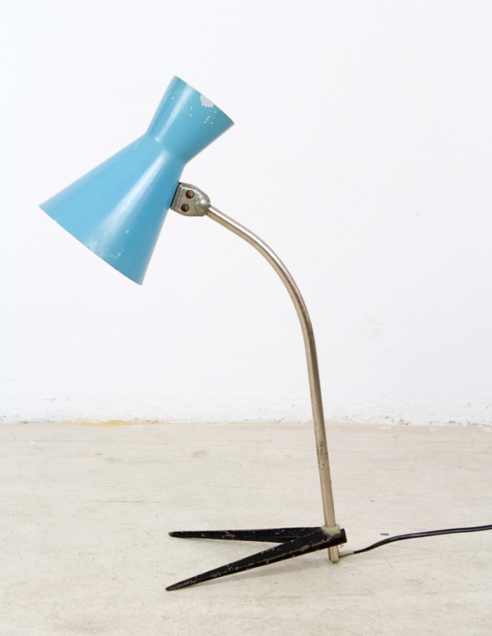 Rare Blue and Black Table Lamp on Bird Legs-1